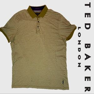 Ted Baker Gold Honeycomb Polo Shirt